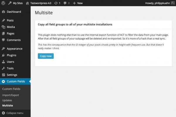 Advanced Custom Fields: Multisite Sync