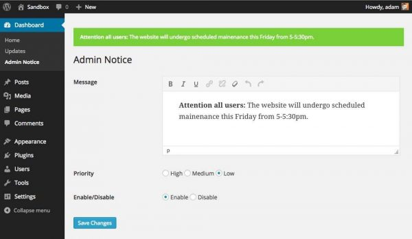 Admin Notice