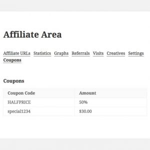 AffiliateWP – Show Affiliate Coupons