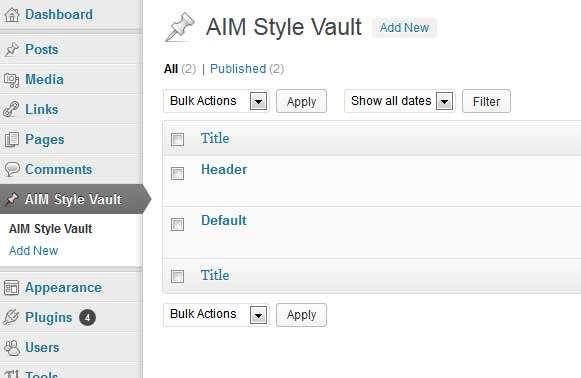 AIM Style Vault