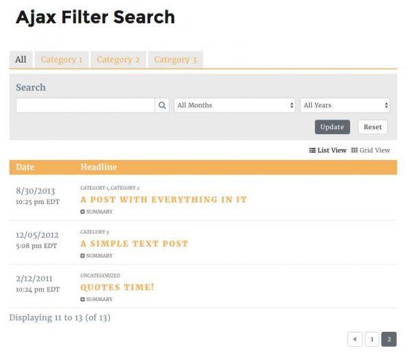 Ajax Filter Search