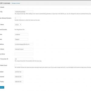 Woocommerce Product License Manager