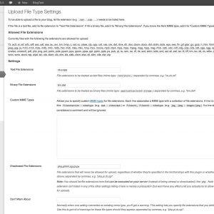 Upload File Type Settings Plugin