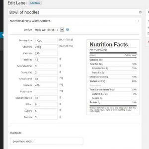 WP Nutrition Facts